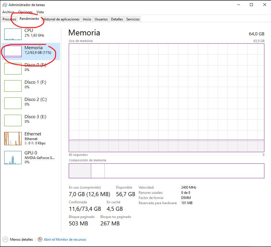 Administrador de tareas RAM